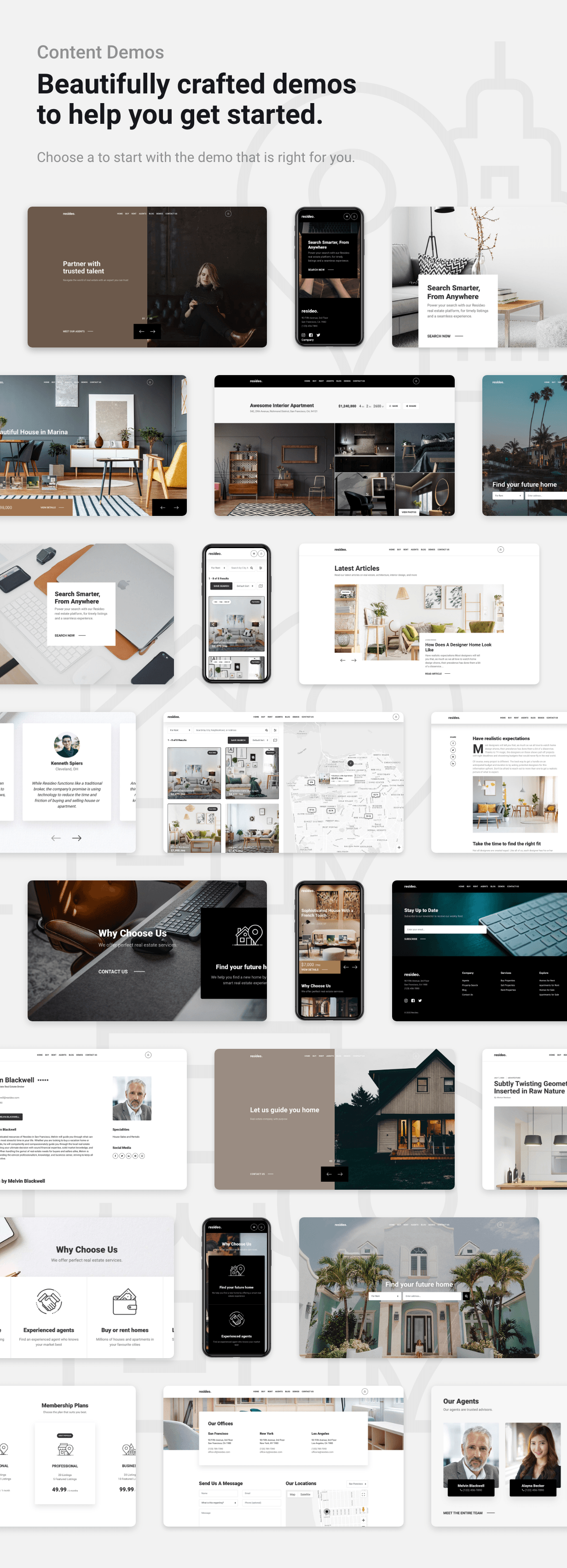 Resideo - Real Estate WordPress Theme - Demos